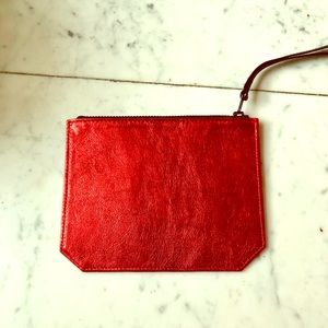 NWT Bandier Red Foil Leather Pouch